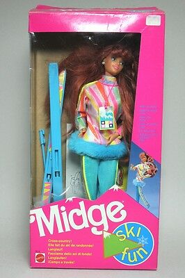 VINTAGE 1990 BARBIE SKI FUN Friend MIDGE Doll MATTEL #7513 with BOX