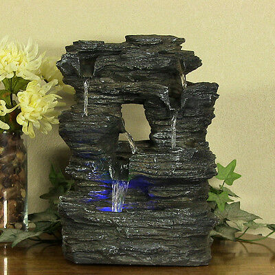 new indoor tabletop rock falls electric led light water fountain desk home decor - Fountain For Home Decoration