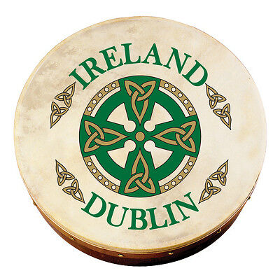 "8"" Bodhran With Dublin Celtic Cross Design, Comes With Beater"