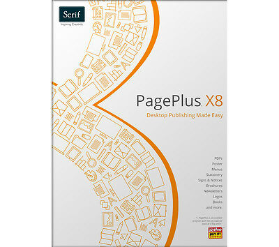 Serif PagePlus X8 with start up Guide and 127 page Guide /10/ 8/ 7/ xp vista