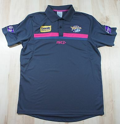 263 Leeds Rhinos Isco grey polo style Shirt  Jersey  Size M