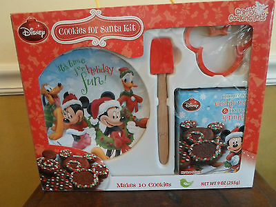 Disney Mickey Mouse Cookies For Santa Kit Child Plate Cutter Spatula New In Box
