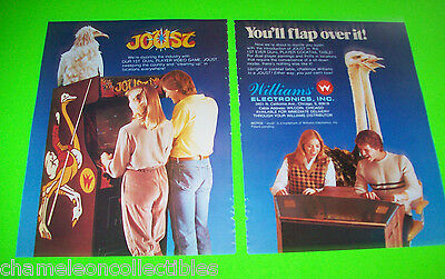 JOUST By WILLIAMS VIDEO ARCADE GAME MAGAZINE 2 PAGE ADVERTISING NOT A SALE FLYER