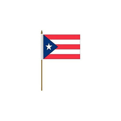 """Puerto Rico  Country 4 X 6 Mini Stick Flag With 10"""" Plastic Pole .. New"""