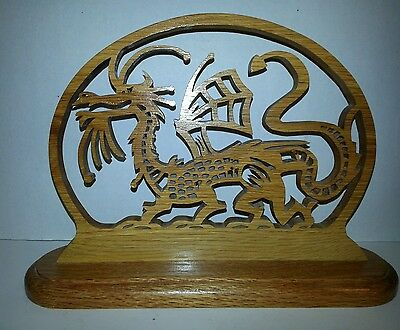 Detailed Hand Carved Wood Dragon Statue On Wood Base