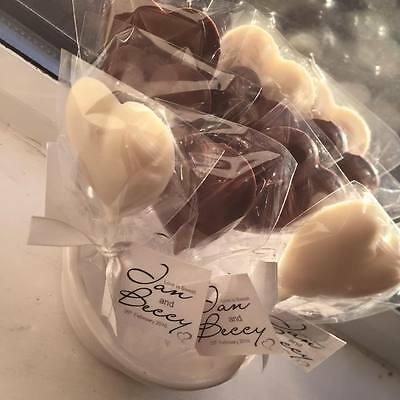 150 x Heart Chocolate Lollipops Wedding Favours Party Birthday Christening Gift