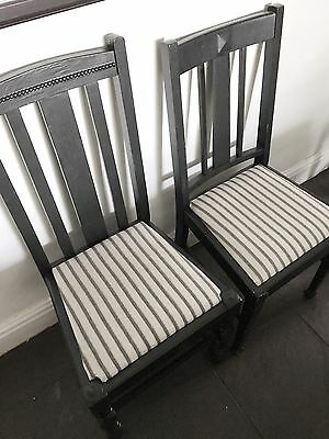 Black Vintage wooden 4 dining chairs upholstered in stripe black&white material
