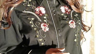 Fabulous !! Black Floral Embroidered Shirt Xl  Roper Western Johnny Cowboy Rodeo