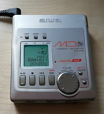 Aiwa AM-F80 Personal MiniDisc Player with charger and case logic case