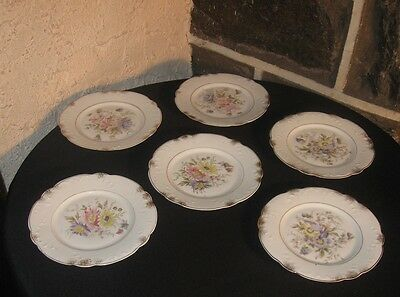 Antique plates lunch dishes hand painted Gorgeous flowers lot of 6