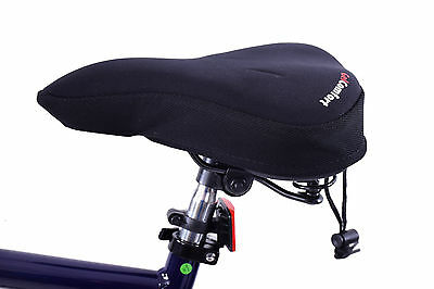Mens bike/spin seat soft gel extreme comfort padded saddle cushion cover black