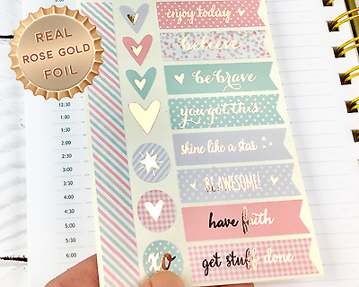 16 x Peach, Mint and Grey Planner Stickers with Rose Gold Foil