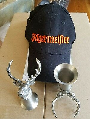 (2) Jagermeister Deer Head Shot Glasses & Cap Hat