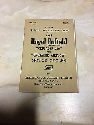 Royal Enfield 1958 Crusader 250 / Crusader Airflow Parts List [3-86]