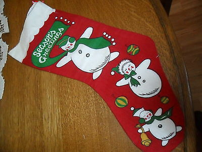 VINTAGE PRINTED FLANNEL CHRISTMAS STOCKING w SNOWMAN -Reduce Shipping