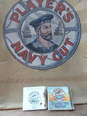 "Player's Navy Cut cigarettes original 1960 cardboard box top 23x15"" + 10"" sides"