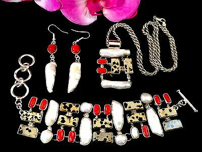 Stunning 950 Sterling Coral Mop Dalmation Stone Necklace Bracelet Earrings Set