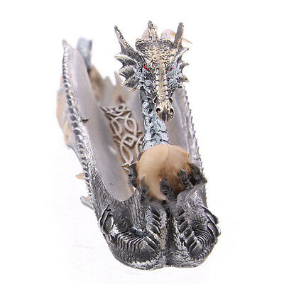 Incense holder,  shimmering Dragon ash catcher Joss stick holder silver