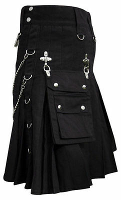 Mens Scotiish Black Gothic Utility Kilt Goth Utility Kilt Punk Kilt 100% Cotton