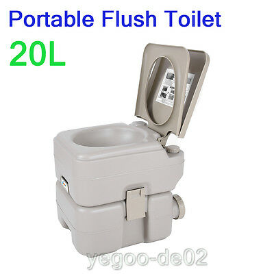 20L Portable Toilet  Travel Outdoor Flush Camping Toilet Potty Commode NEW
