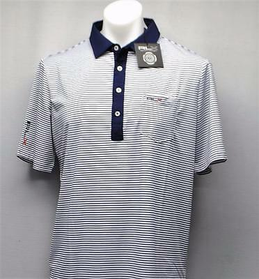 New Mens Ralph Lauren RLX White Navy striped polyester golf polo shirt NWT Large