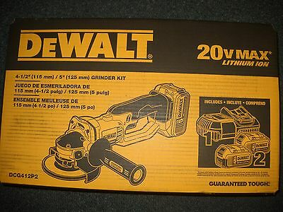 DeWALT DCG412P2 20V Lithium Ion Cordless Angle Grinder Cut Off Tool W/ 2 DCB205