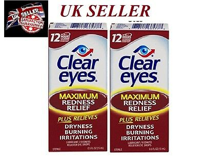 Clear Eyes Maximum Strength Redness Relief, 0.5 Oz (2 packs) usa import