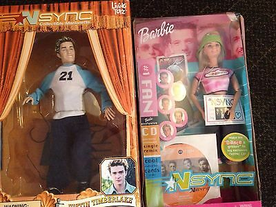 Justin Timberlake NSYNC Collectible Marionette Doll and Barbie NSYNC Fan Mattel