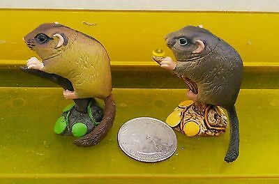 2 dormouse Kaiyodo figures, Natural Monuments of Japan, both colors, US seller