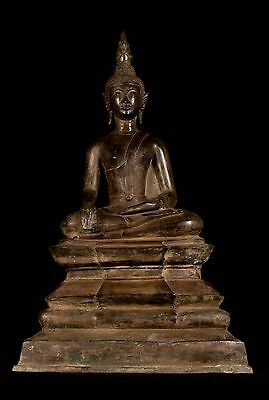 Monumental 19th Century Antique Laos Enlightenment Buddha Statue - 77cm/31""