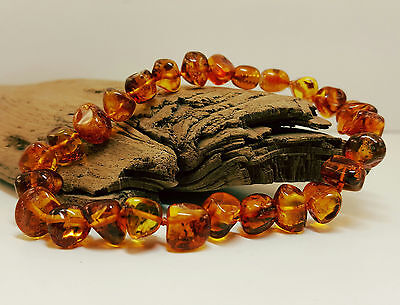 Bracelet Natural Baltic Amber Stone 9-11Grams Cognac 22cm Rounded Beads 8-9,5mm