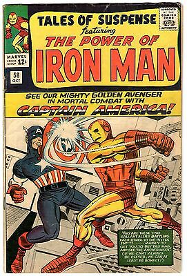 Tales Of Suspense #58. Marvel Oct 1964.1st Captain America in title. VG