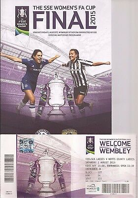 WOMEN'S FA CUP FINAL 2015 Chelsea v Notts County-PROGRAMME AND TICKET