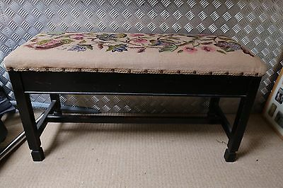 Beautiful Hand Embroidered Duet (double) Piano Stool / Sewing Box / Window Seat