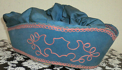 Vintage Odd Fellows Secret Society Hat Blue With Rust Embroidery 20s Cotton Old