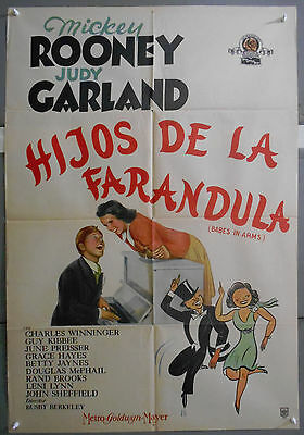 XH60D BABES IN ARMS  JUDY GARLAND MICKEY ROONEY orig 1sh POSTER ARGENTINE Litho