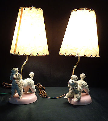 2 Rare Vintage 1950's Midcentury Atomic Spaghetti Poodle Style Nightstand Lamps