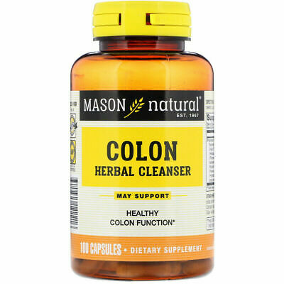 Colon Herbal Cleanser - 100 Capsules, Bentonite, Psyllium, Aloe - Masons Natural
