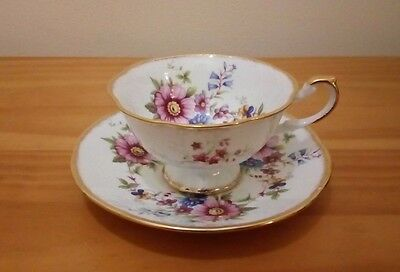 Vintage Queen's Rosina China Co Ltd  Floral Footed Cabinet Tea Cup & Saucer