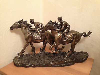 Resin Bronze Horse and Jockey Racing Sculpture by Fairestware COLLECTION ONLY