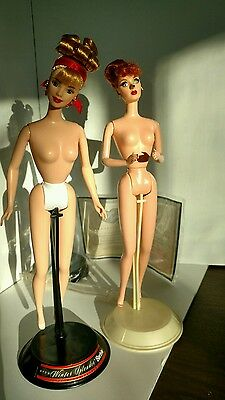 Barbie I Love Lucy and Winter Splendor dolls nude with stands