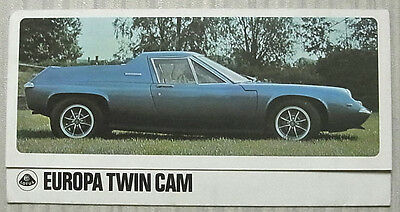 LOTUS EUROPA TWIN CAM Sports Car Sales Brochure c1971
