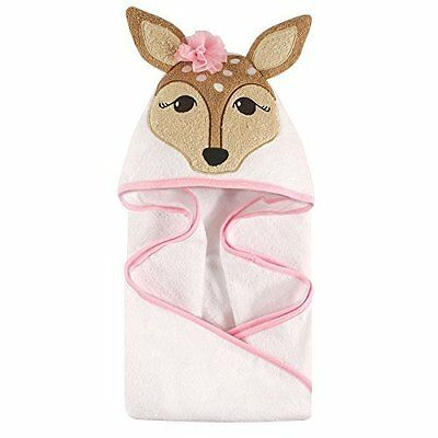 Hudson Baby Animal Face Pink Fawn Hooded Towel for Baby Girls