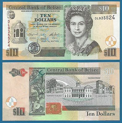 Belize 10 Dollars P 68 New Date & sign. 2016 UNC Low Shipping! Combine FREE!