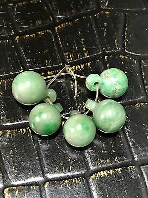 Qing Dynasty Antique Chinese Jade Court Robe Buttons, Set of 5 With Shanks