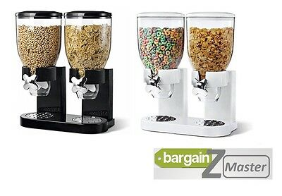 Premium Double Cereal Dispenser Food Storage Machine Container Dry Black White