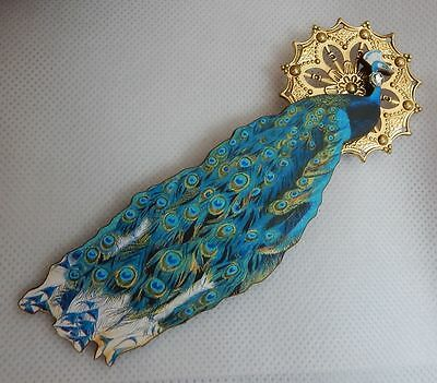 Peacock Brooch or Scarf Pin Accessories Handmade NEW Wood Fashion Multi-Color