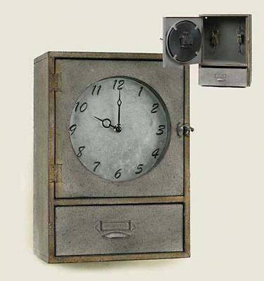 Vintage Style Galvanized Wall Clock Cabinet With Drawer