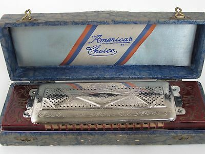 Antique M.HOHNER BEST HAMMERED REEDS DOUBLE SIDED HARMONICA