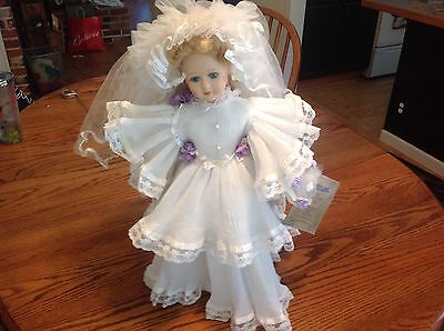 "Seymour Mann porcelain 20"" bride doll 1996 with original tag & doll stand"